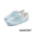 HANNFORT CALIFORNIA蕾絲布氣墊休閒鞋-女-淺水藍8H