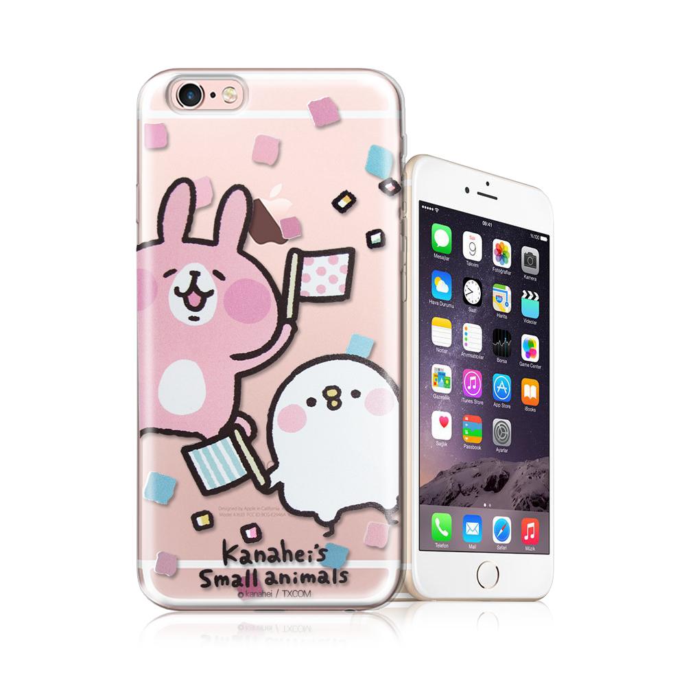 官方授權卡娜赫拉iPhone 6S plus 5.5吋透明彩繪手機殼揮旗子