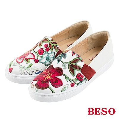 BESO 夏豔漫步 全真皮撞色花紋鬆緊帶休閒鞋~白