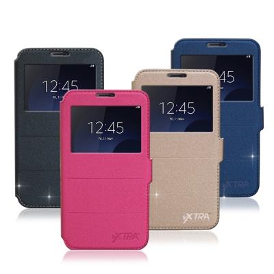 VXTRA Samsung Galaxy C9 Pro 金莎紋視窗皮套
