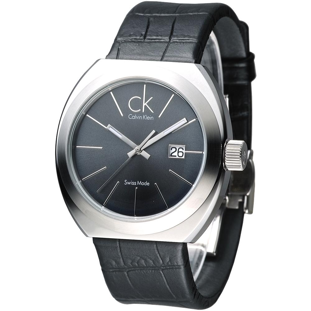 cK Nation城市菁英時尚經典男腕錶-灰黑42mm