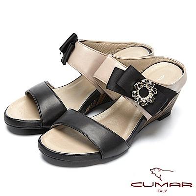 CUMAR撞色時尚-圓形水鑽裝飾楔型跟涼鞋-黑色