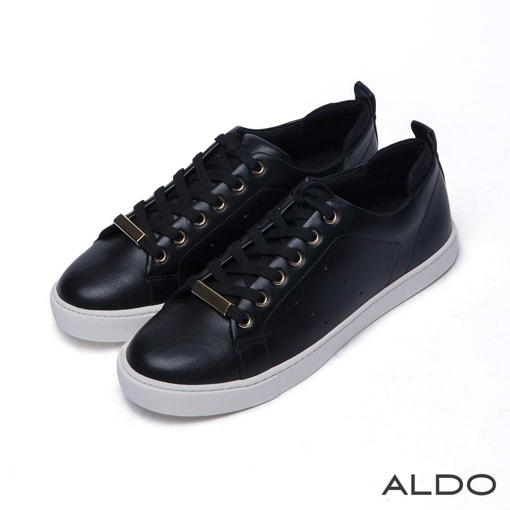 ALDO 原色幾何金屬柱交叉綁帶厚底運動鞋~尊爵黑色