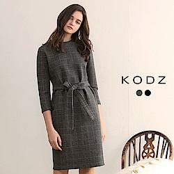 東京著衣-KODZ溫熱系-經典不敗格紋小立領毛呢設計洋裝-(共二色)