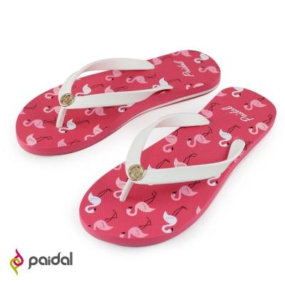 Paidal紅鶴時尚風足弓夾腳拖鞋-西瓜紅
