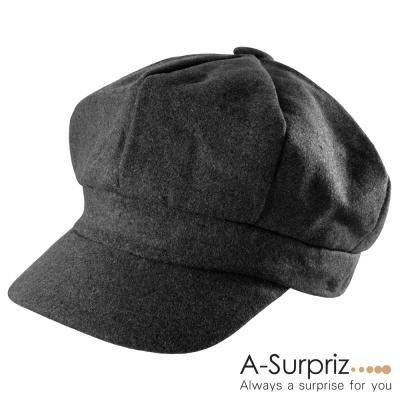 A-Surpriz  優雅淑女混毛呢貝雷帽(氣質黑)