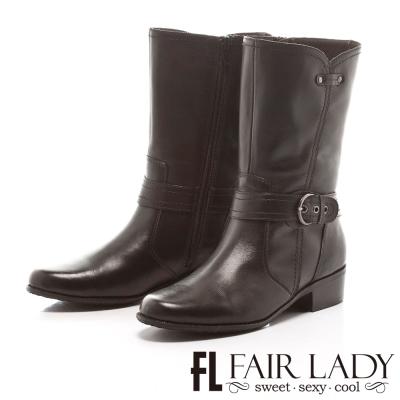 Fair Lady 軍風來襲飾扣帶中筒靴 黑