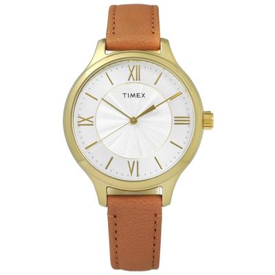 TIMEX 天美時 美國指標女伶甜蜜綻放真皮手錶-銀x金框x卡其/36mm