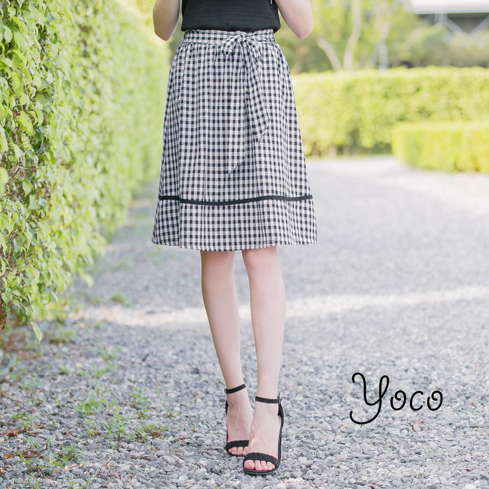 東京著衣-yoco復古少女甜美綁帶滾邊格子裙-S.M.L共一色