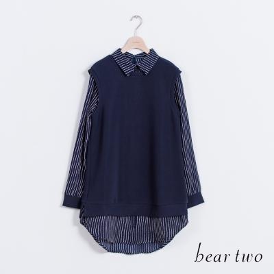 beartwo-假兩件式襯衫領造型長版上衣-二色