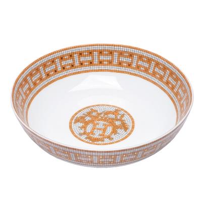 HERMES Mosaique au 24經典戰馬H LOGO圖騰馬賽克骨磁碗(大-橘)