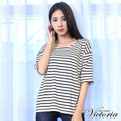 Victoria 條紋蕾絲拼接寬鬆五分袖T-女-白底黑條
