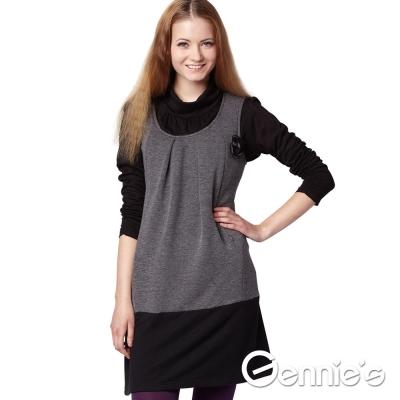 Gennie-s奇妮-圓領拼接雙色秋冬哺乳背心洋裝