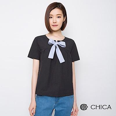CHICA 新潮甜美條紋蝴蝶結綁帶上衣(2色)