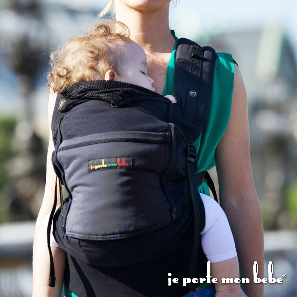 【法國 je porte mon bebe 】JPMBB 四季嬰兒揹帶,黑/碳灰