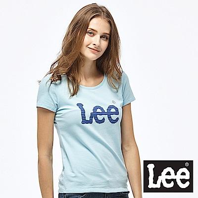 Lee 亮片印花LOGO短袖圓領TEE-女款-藍