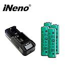 iNeno-2200mAh凸頭 18650鋰電池4入組+VIPi1 單槽鋰電池充電器