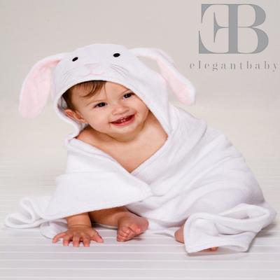 Elegant Baby 動物連帽浴巾-小白兔