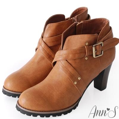 Ann'S時髦部落客.V口釦帶交叉踝靴-棕