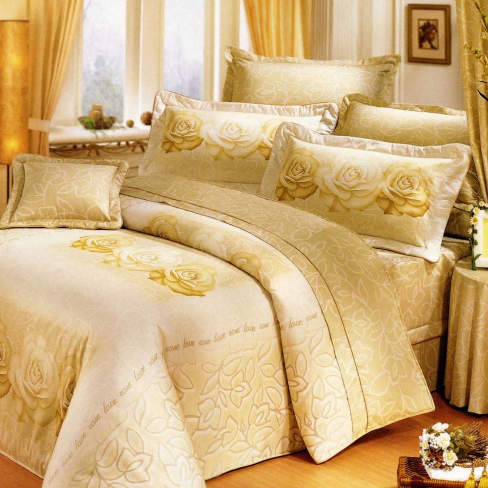 艾莉絲-貝倫 香榭玫瑰 100%純棉 三件式雙人枕套床包組