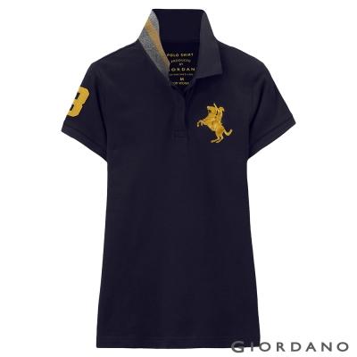 GIORDANO-女裝拿破崙3D刺繡彈性POLO衫-16-標誌海軍藍