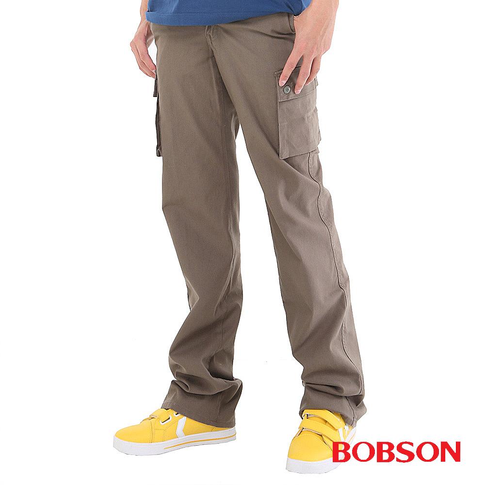 【BOBSON】男款休閒百搭側口袋直筒褲(灰綠41)
