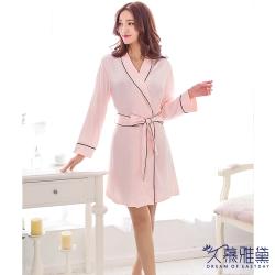 睡衣 性感英式絲滑浴袍睡衣粉紅色 久慕雅黛