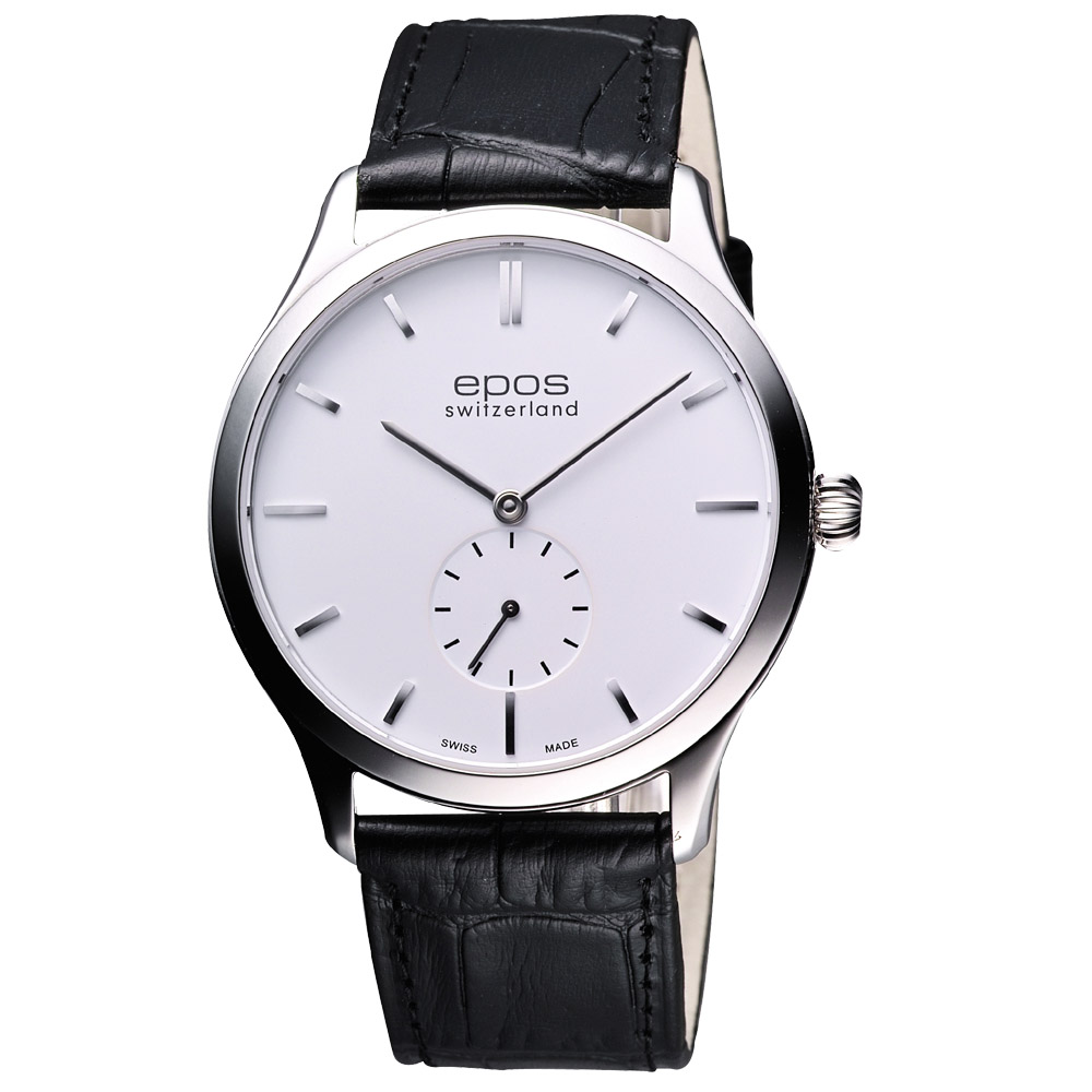 epos 經典超薄獨立小秒針機械腕錶-白/39mm