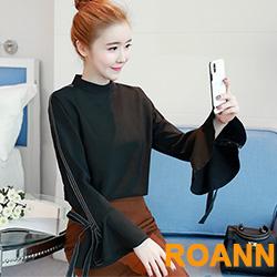 立領蝴蝶講綁帶喇叭袖雪紡襯衫 (黑色)-ROANN