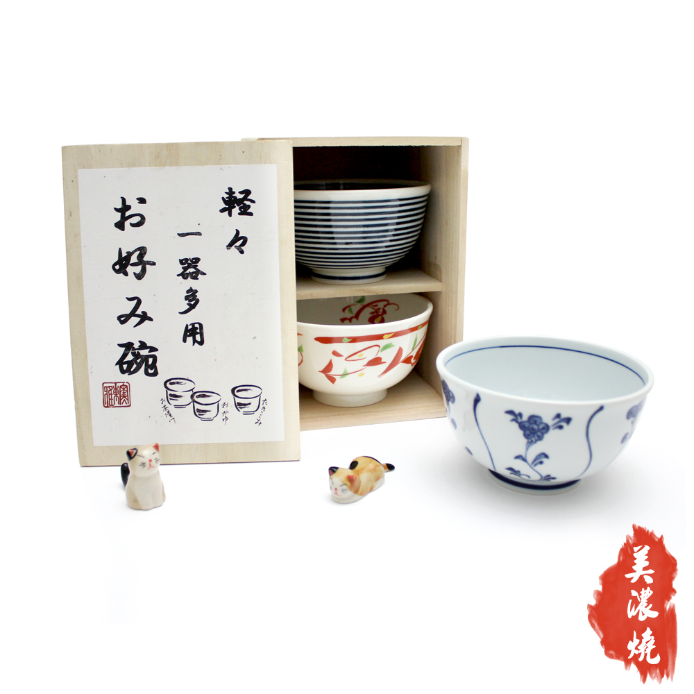 日本輕量美濃燒陶彩三入飯碗組