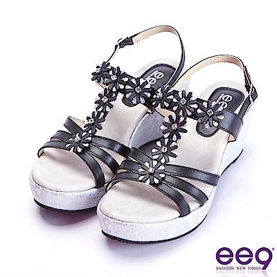 ee9 經典手工閃耀鑲嵌亮鑽魚口楔型跟涼鞋  黑色