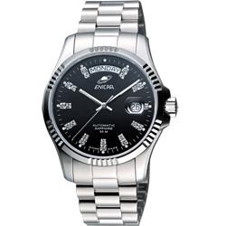 ENICAR 英納格 恆動之星經典機械腕錶-黑/43mm