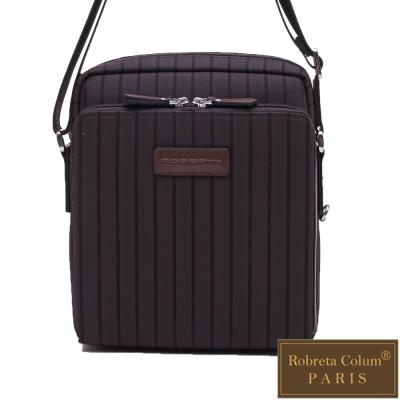Roberta Colum - 倫敦時尚紳士休閒配牛皮直式機能側背包-咖