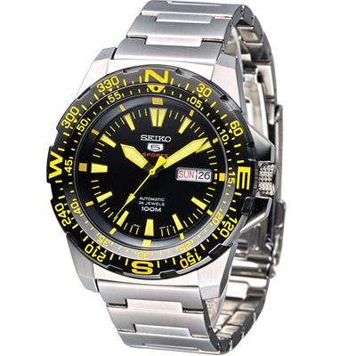 SEIKO 5號機械錶光速炫風運動風腕錶(SRP545K1)-黑x黃刻/43mm