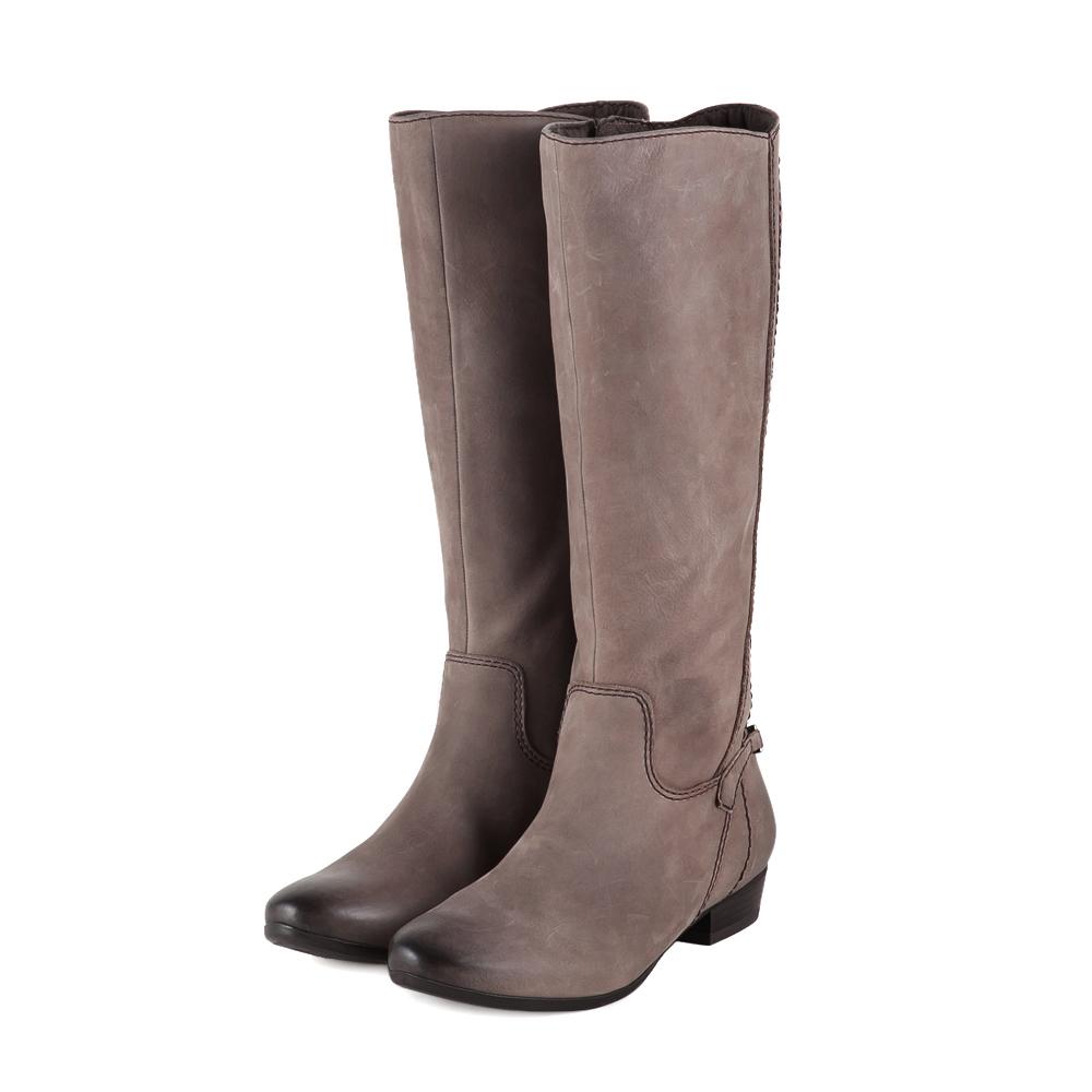 TAS 後跟搖滾風金屬鍊裝飾仿舊牛皮紋長靴-獨特灰