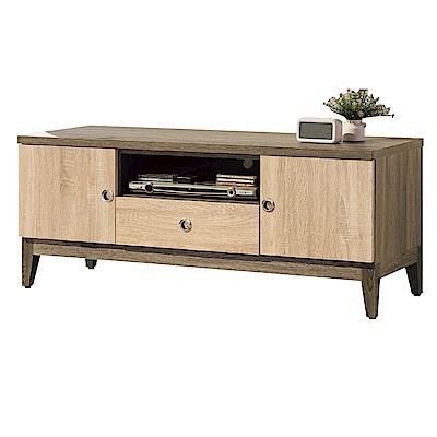 品家居 伊西4尺木紋雙色二門單抽長櫃 電視櫃~119.7x40.1x48.5cm免組
