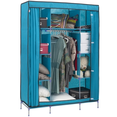 【免工具】125公分[寬]-三層八格(不織布) -吊衣櫥[含彩色布套]4色可選