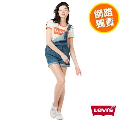 Overall-吊帶短褲-橘標-雙釦-Levis