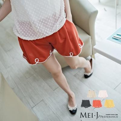 短褲-滾花邊棉質短褲-粉-小美日系