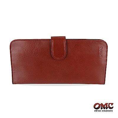 OMC 原皮系列-植鞣牛皮舌片壓扣14卡透明窗雙隔層零錢長夾-咖啡色