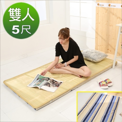 《BuyJM》冬夏兩用高密度大青三折雙人床墊5x6尺-免組