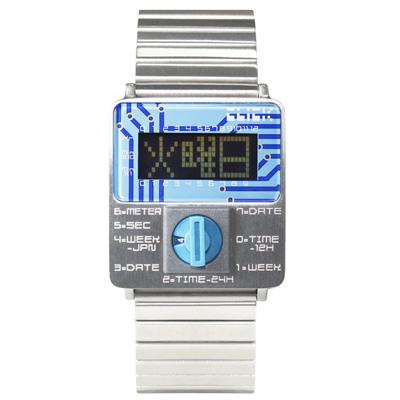 CLICK TURN 創意電路板個性電子腕錶-銀鋼藍