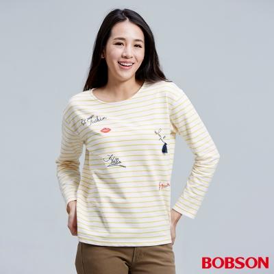 BOBSON  女款刺繡縫珠細條紋上衣