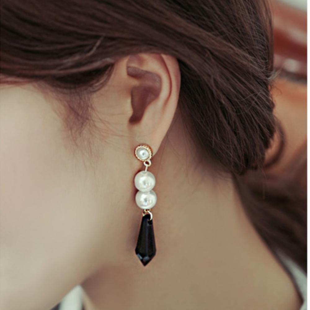 梨花HaNA 無耳洞她很漂亮閔夏莉珍珠寶石垂綴耳環夾式