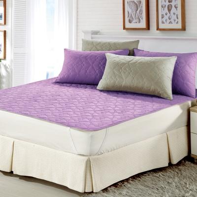 精靈工廠 雙色幸運草系列防潑水加大三件式舖棉平單保潔墊-戀紫+淺灰
