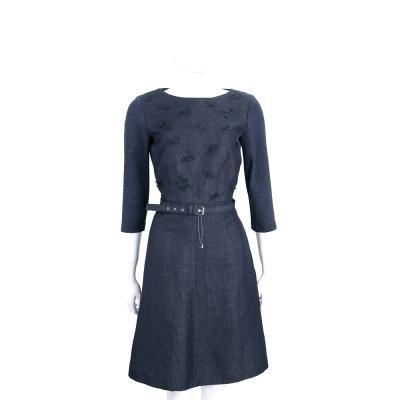 Max Mara-WEEKEND 深藍色單寧繡花七分袖洋裝(附腰帶)