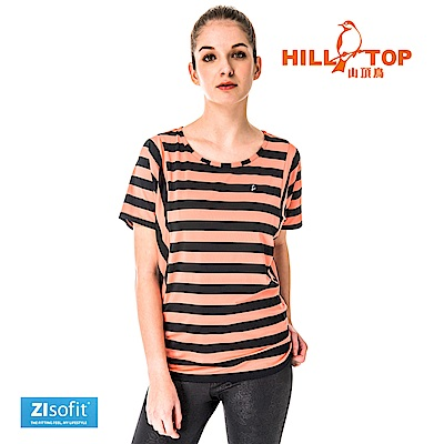 【hilltop山頂鳥】女款吸濕排汗抗UV彈性上衣S04FH2-柿橘底黑條