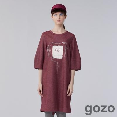 gozo 畫家逗趣工具印花長版連身洋裝(二色)