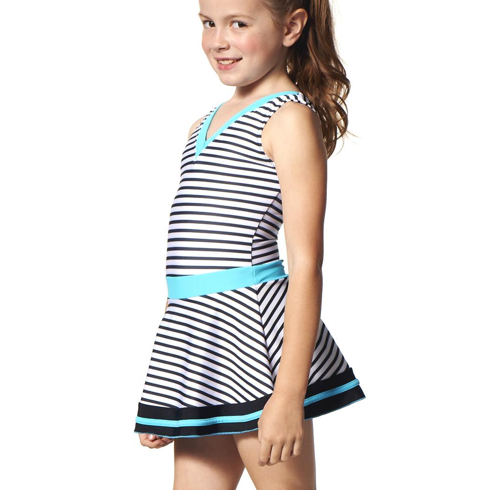 聖手牌 可愛尖領橫紋連身裙式女童泳裝