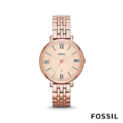 FOSSIL JACQUELINE 簡約不鏽鋼女錶-玫瑰金 約36mm ES3435